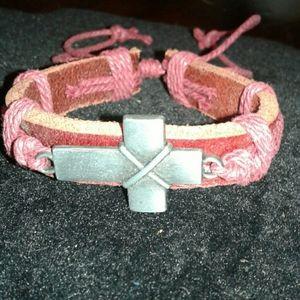 Other - Leather Cross Bracelet
